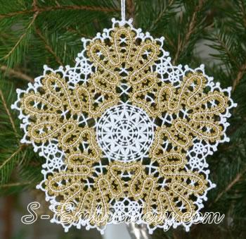 Snowflake Battenberg lace embroidery ornament No2