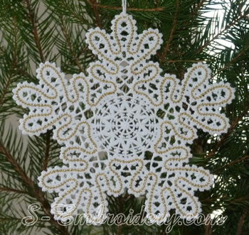 Snowflake Battenberg lace embroidery ornament No3