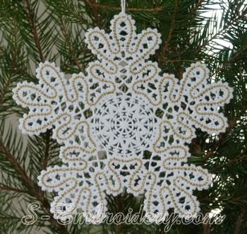 Snowflake Battenberg lace embroidery ornament No3