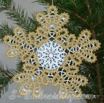 Snowflake Battenberg lace embroidery ornament No4