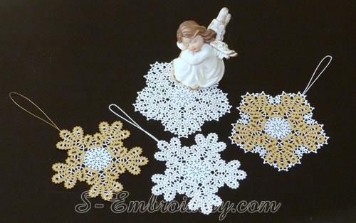Snowflake Battenburg lace embroidery ornaments