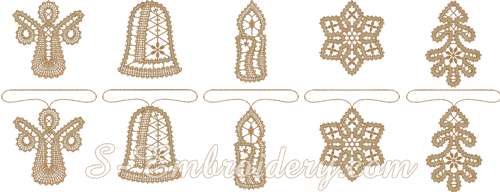 Battenburg free standing lace Christmas ornaments set
