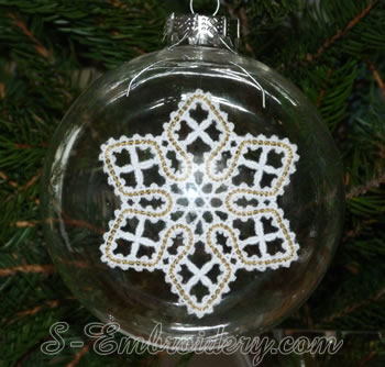 Christmas star Battenburg lace ornament embroidery design
