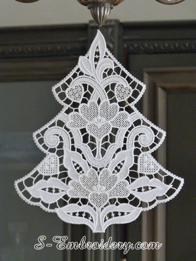 Free Standing Lace Christmas Doily Machine Embroidery