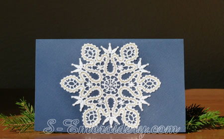 Christmas greeting card with Battenburg free standing lace snowflake ornament