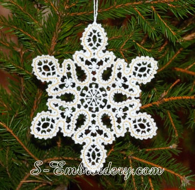Battenburg free standing lace snowflake Christmas ornament
