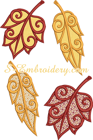 Autumn leaves cutwork lace and applique machine embroidery