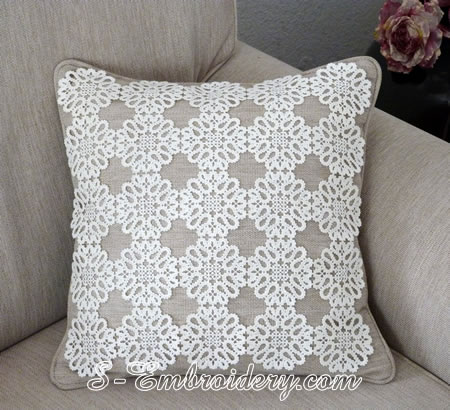 Pillow with Battenberg lace machine embroidery