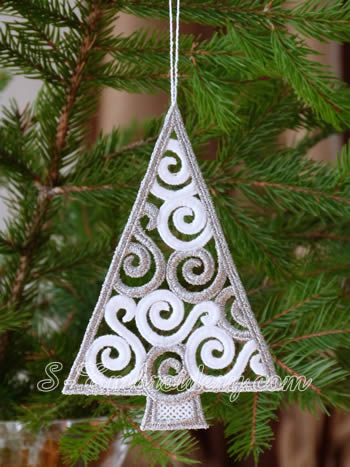 Christmas tree freestanding lace ornament - silver