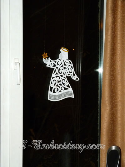 Free standing lace Christmas window ornament