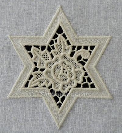 Cutwork lace star machine embroidery design
