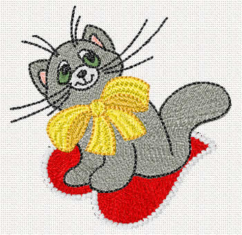 10075 Valentine cat embroidery design