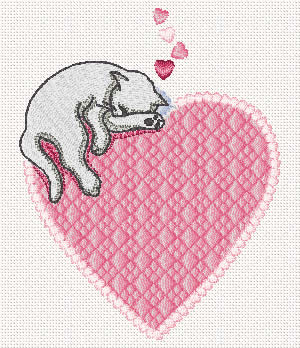 10076 Valentine cat embroidery design