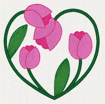 10079 Valentine tulip heart embroidery