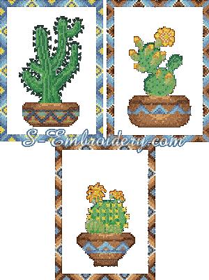 10089 Cross stitch cactus embroidery set No1
