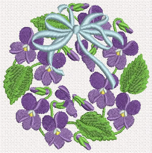 10120 Violet wreath machine embroidery