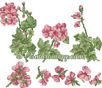 10127 Cross stitch geranium machine embroidery set