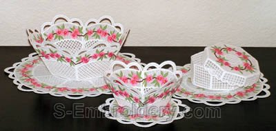 10223 Peach blossom free standing lace bowl and doily set