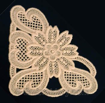 10231 Free standing lace corner embroidery