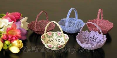 10237 Free standing lace wedding basket set No2