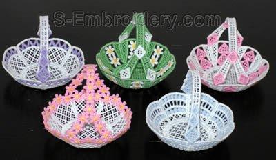 10270 Free standing lace mini basket set No4