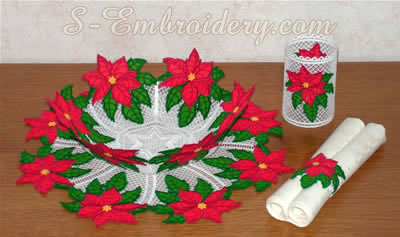 10309 Freestanding lace poinsettia bowl and doily