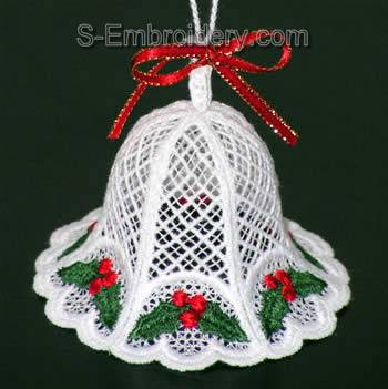 10311 Free standing lace Christmas bells embroidery set