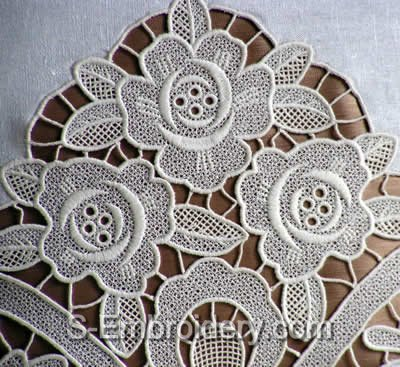 10413 Free standing lace rose embroidery