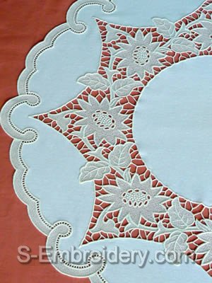 10429 Free standing lace sunflower table top