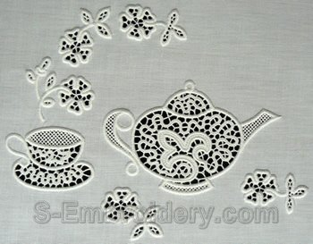 10551 Free standing lace teatime set No2