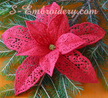 10593 Poinsettia Christmas machine embroidery set