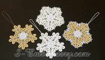 10596 Snowflake Battenburg lace embroidery ornaments