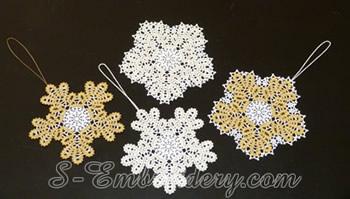 10596 Snowflake Battenburg lace embroidery ornaments