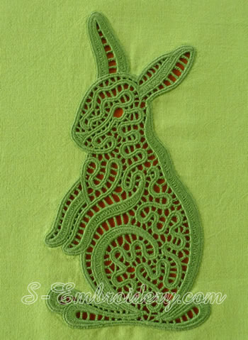 10603 Bunny lace machine embroidery design
