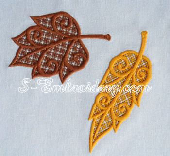 10623 Autumn leaves cutwork lace and applique embroidery set