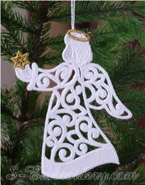 10625 Christmas angel free standing lace ornament