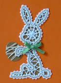 10505 Easter bunny Battenberg lace ornament