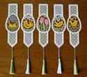 10536 Easter egg Battenberg lace bookmarks set