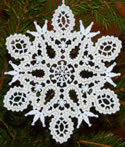 10621 Battenburg lace snowflake Christmas ornament
