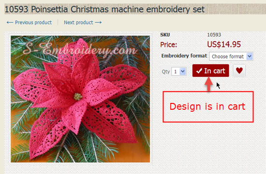 Embroidery designs in cart