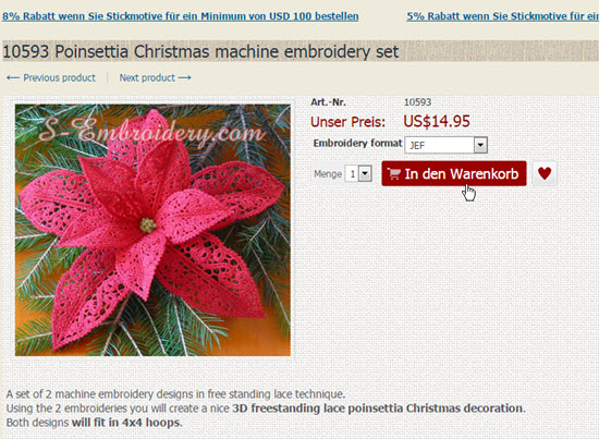 Add embroidery designs to cart