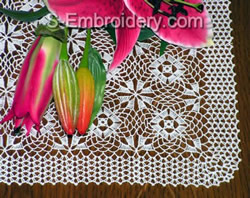 Crochet lace table runner machine embroidery