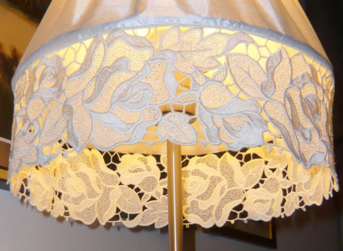Free standing lace lamp shade s embroidery freestanding lace lamp shade close up image aloadofball Image collections