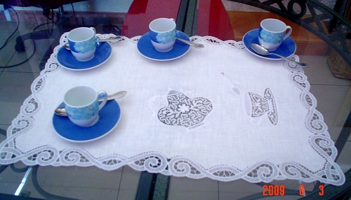 Freestanding lace tea time embroidery