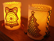 Freestanding lace Christmas candle shades