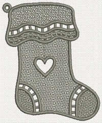Freestanding Lace Christmas  Stocking Embroidery design