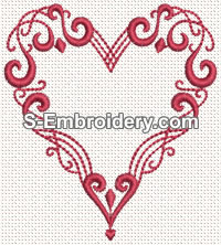 Valentine Heart Machine Embroidery Design