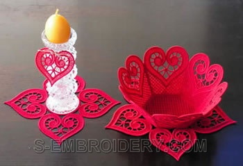 Freestanding lace bowl and doily machine embroidery set