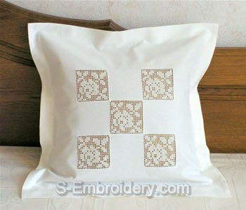 Pillow with crochet squares