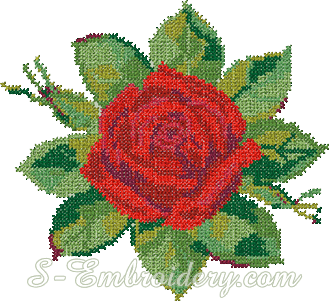 Red rose cross-stitch machine embroidery